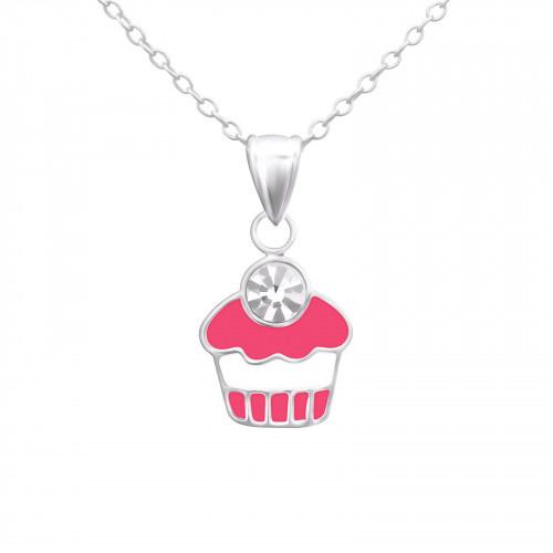 Kinder Ketting met Cupcake hanger 925 Sterling Zilver