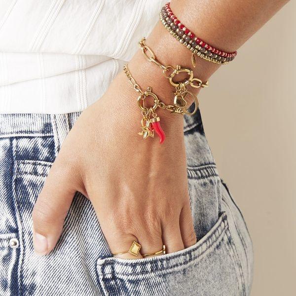 Stainless Steel Gold Rode Horn Charm voor aan je ketting oorbellen of armband
