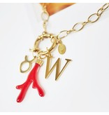 Stainless Steel Gold Rode Koraal Charm voor aan je ketting oorbellen of armband