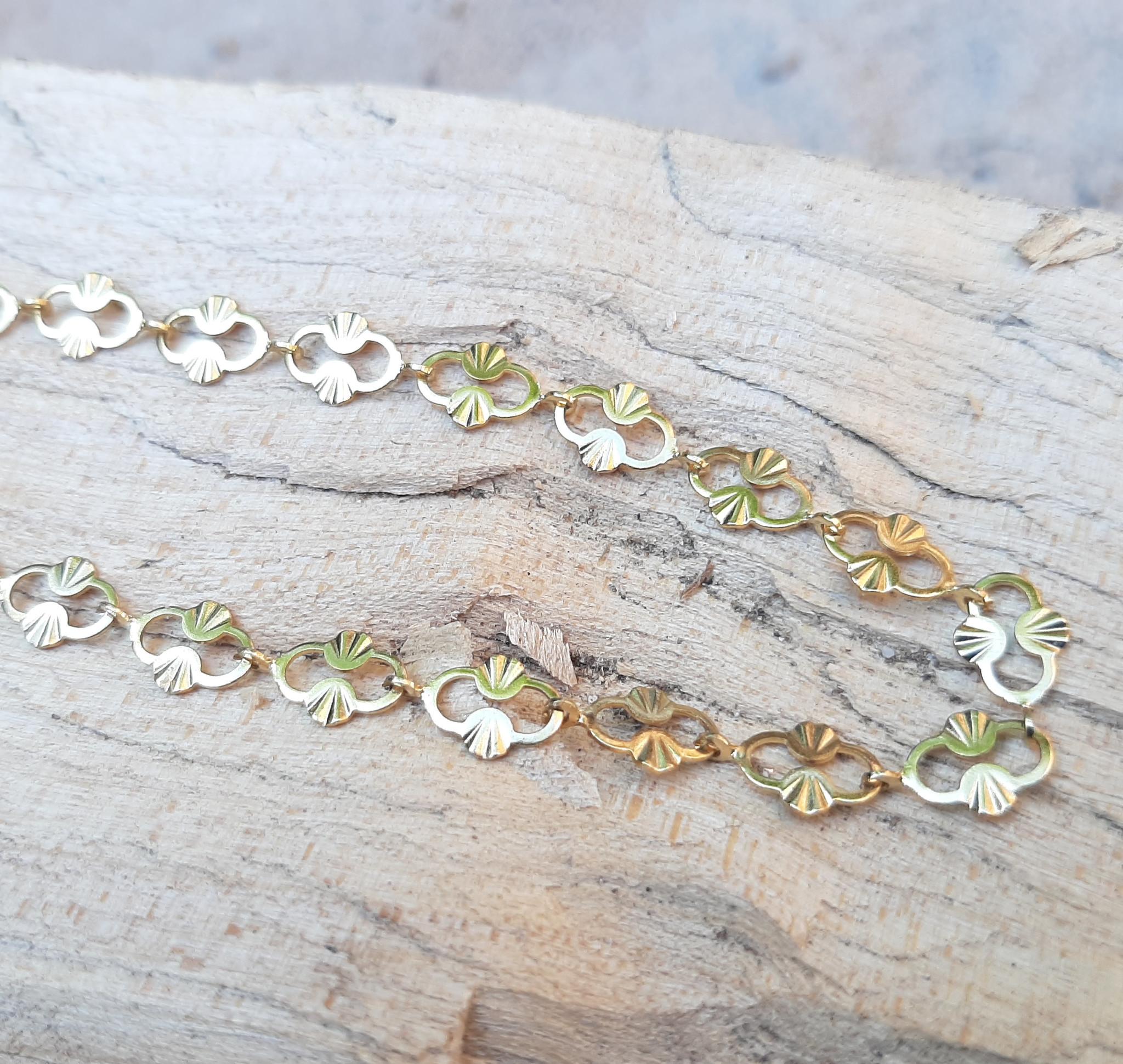 Sazou Jewels Enkelbandje Fantasie Stainless Steel Gold Plated