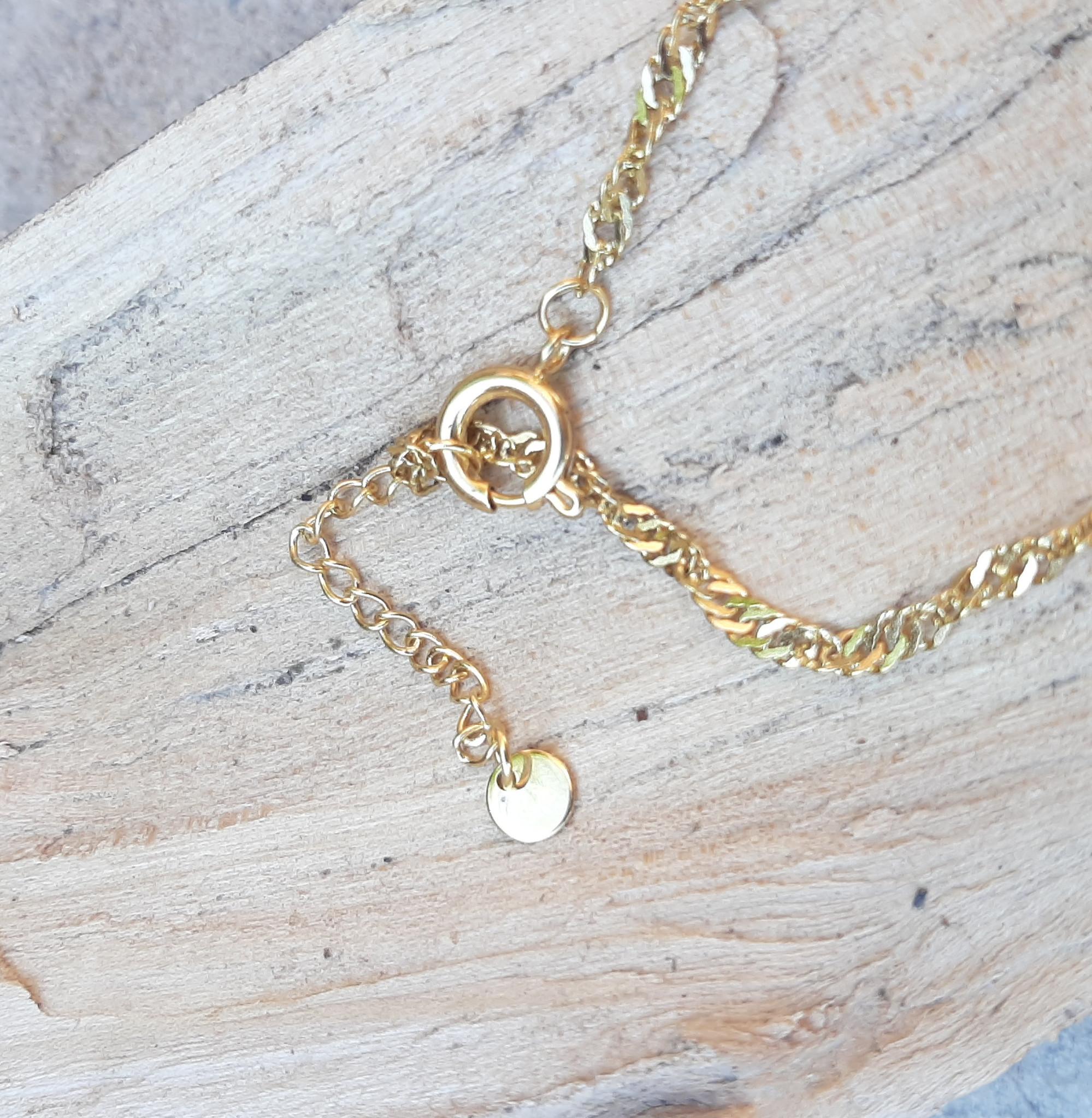 Sazou Jewels Enkelbandje Stainless Steel Gold Plated Wave Jasseron met schelp