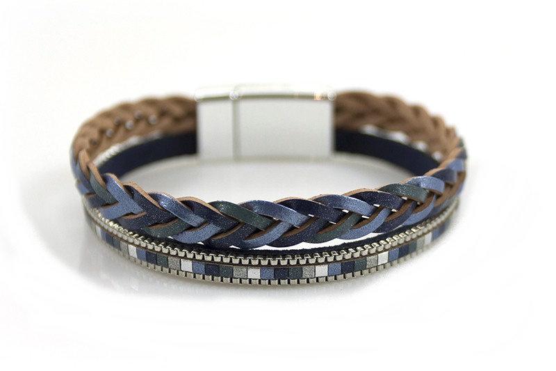Armband Metallic Shine Blue-Purple met magneetsluiting