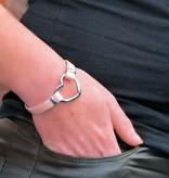 """A-Zone Echt Leren Armband  met """"Open Heart"""" tussenstuk"""
