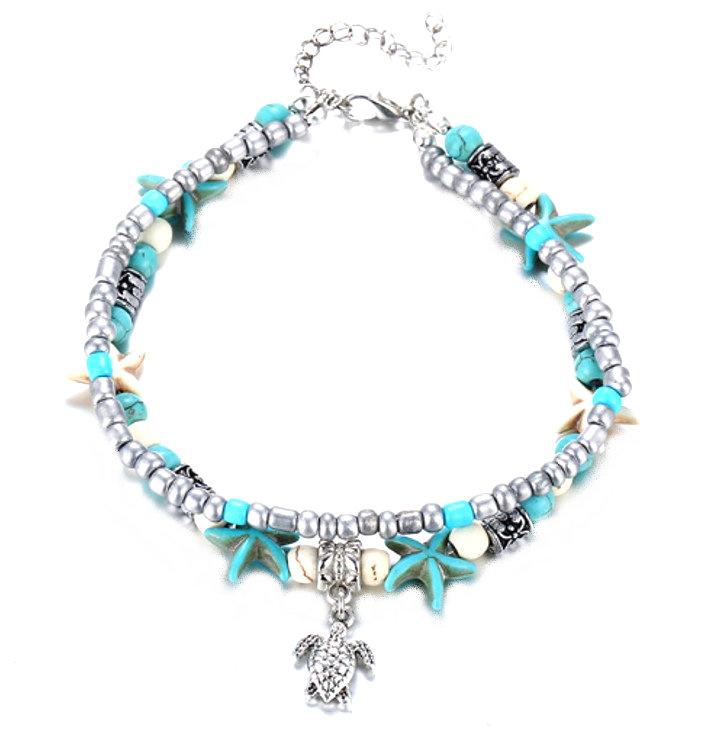 Enkelbandje Double Starfish & Beads - Turtle Charm