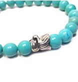 Sazou Jewels Armband Natural Stones Turquoise met 925 Sterling Zilveren tussen kraal