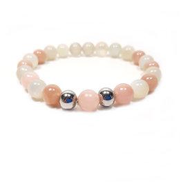 Sazou Jewels Armband Natural Stones Agaat - Stainless Steel