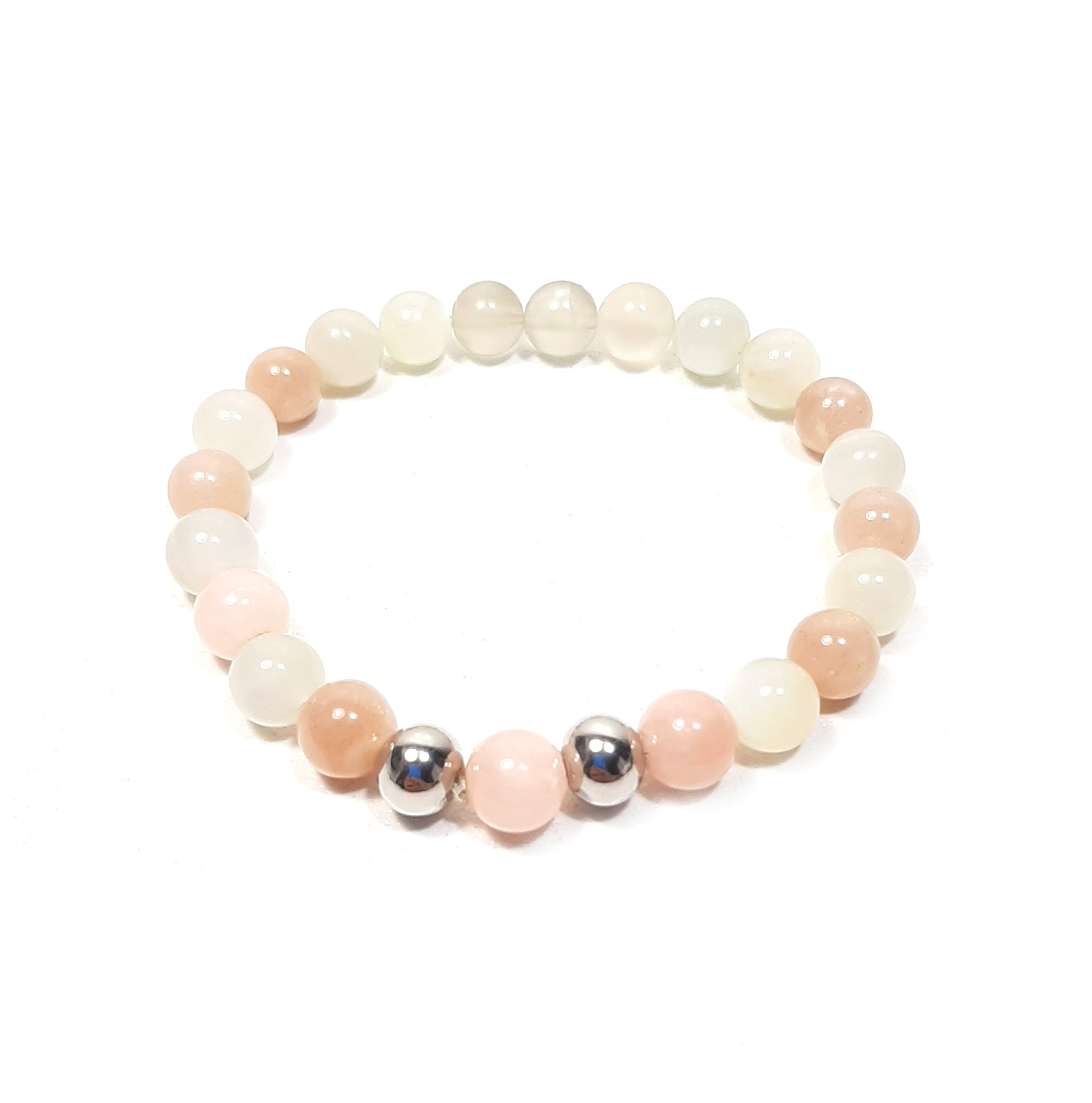 Sazou Jewels Armband Natural Stones Witte en Roze Agaat - Stainless Steel