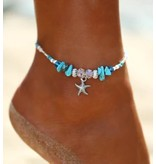 Sazou Jewels Enkelbandje Starfish & Shells Silver