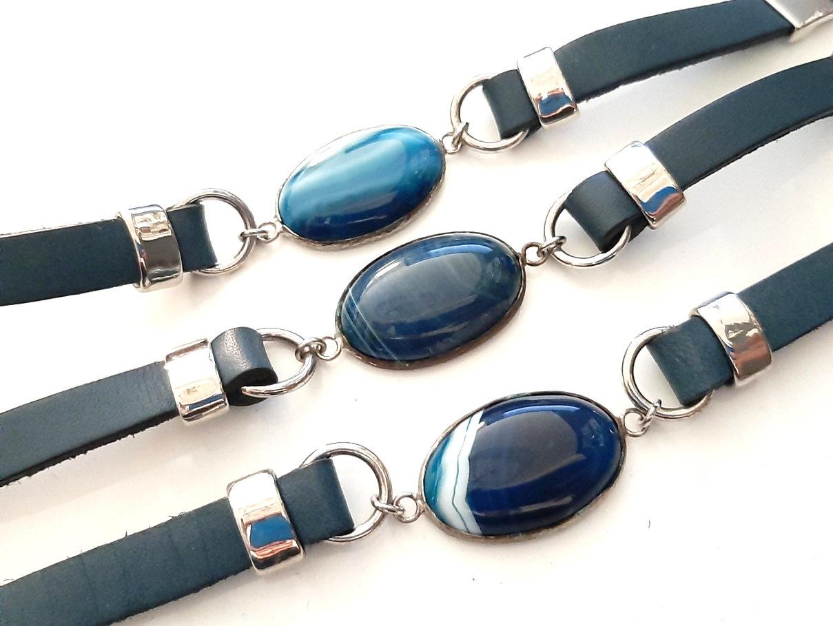 A-Zone Echt Lederen Armband met een Blauwe Natuursteen