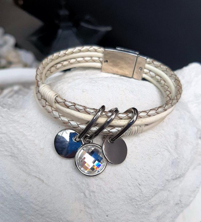 A-Zone Lederen Armband Silver White