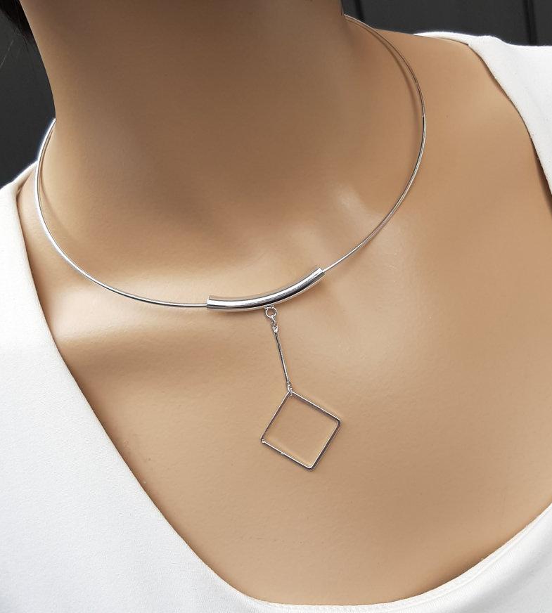 A-Zone Korte Shiny zilveren Spang Ketting met Hanger