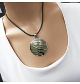 A-Zone Rubberen zwarte Koord Ketting met een groen zilveren amulet hanger