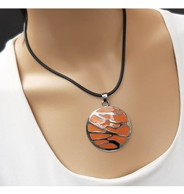 A-Zone Ketting rubber koord met Amulet hanger -Orange
