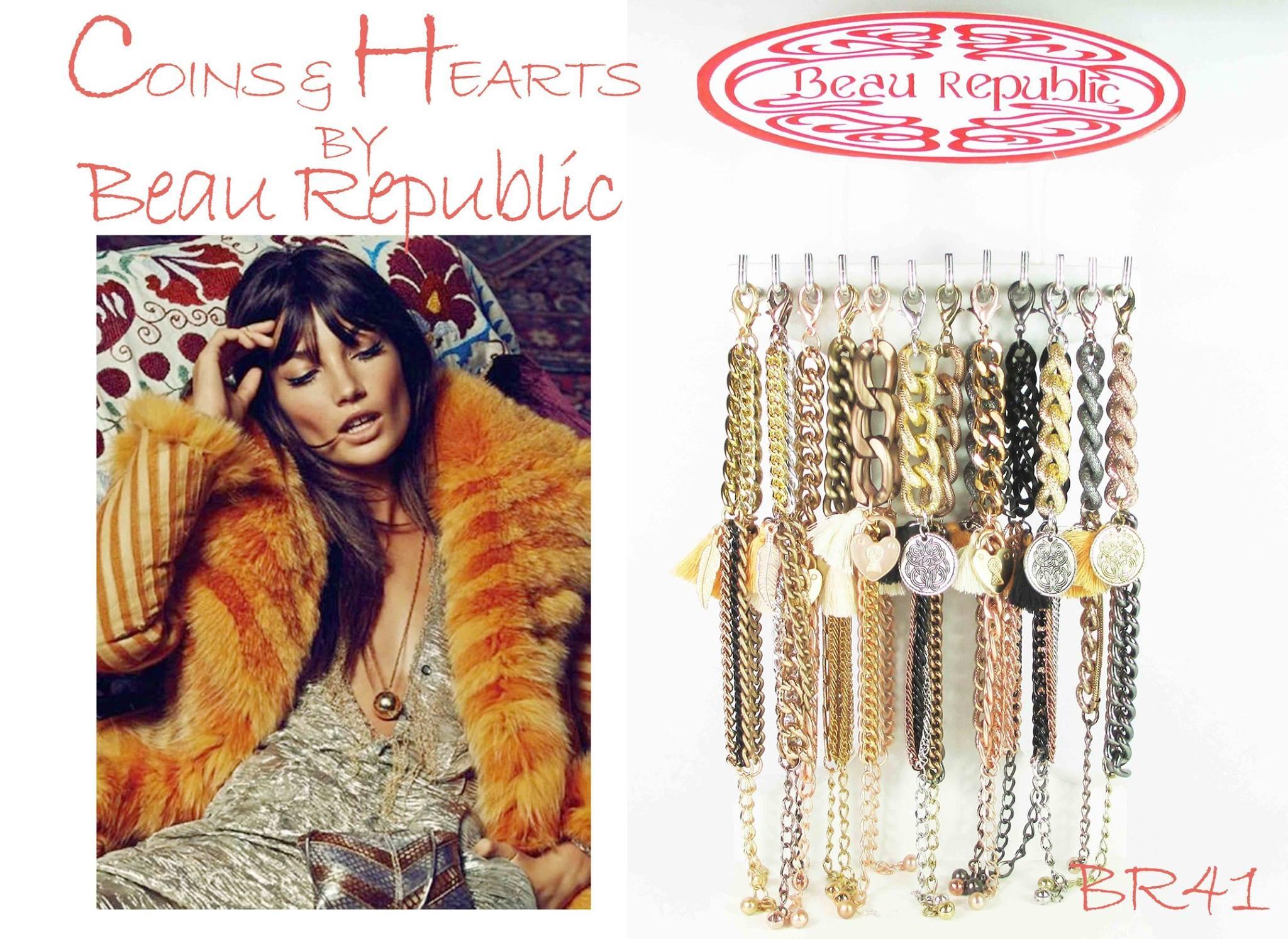 Beau Republic Armband Coins & Hearts by Beau Republic  No8
