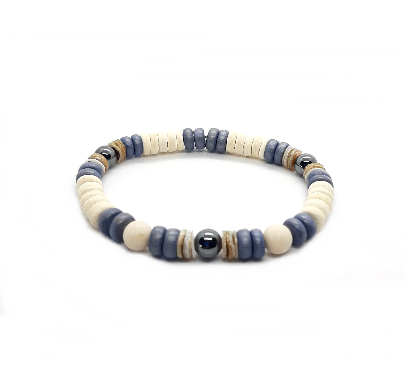 "Armband Natural Colors Denim Blue uit de collectie ""Back To Nature""  van Sazou Jewels"
