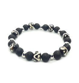 Sazou Jewels Armband Natural Stones Lava & Bone