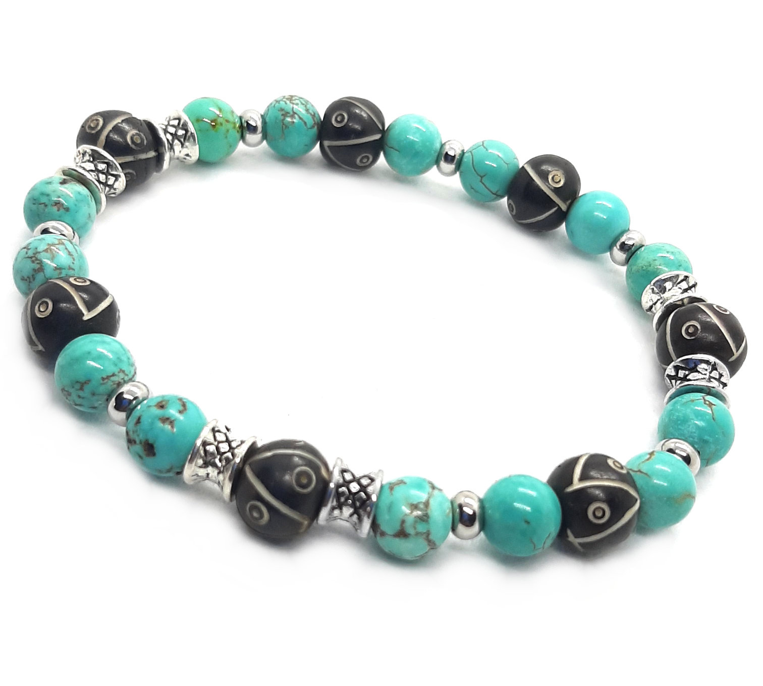Sazou Jewels Armband Natural Stones Turquoise & Ox Bone by Sazou Jewels