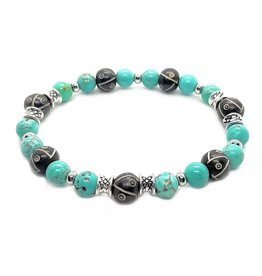 Sazou Jewels Armband Natural Stones Turquoise & Ox Bone