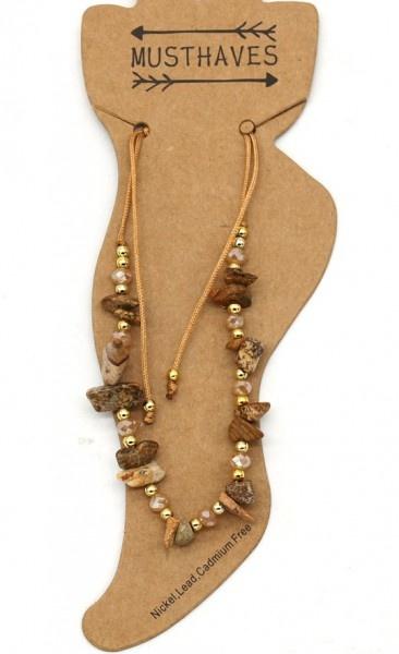 Enkelbandje Brown Stones met verstelbare schuif knoopsluiting