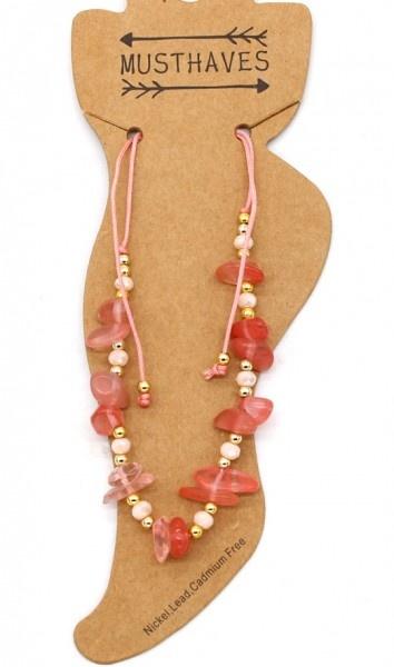 Enkelbandje Pink Stones met verstelbare schuif knoopsluiting