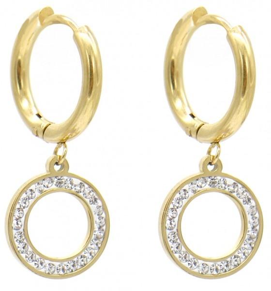 Stainless Steel Gold Plated Klap Creolen met ring bling hanger
