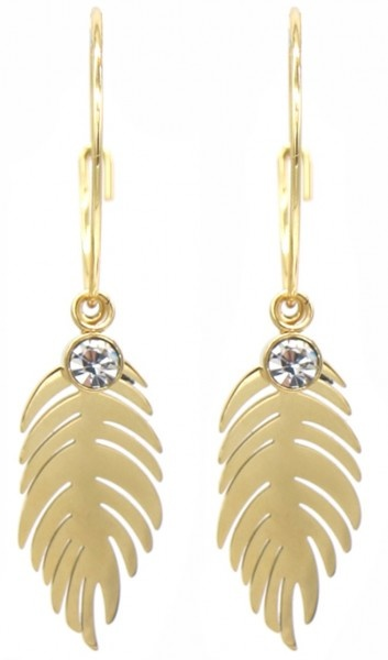 Stainless Steel Gold Plated Creolen met een veer en Kristal hanger