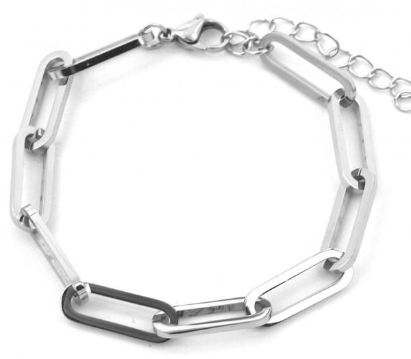 Grove schakel Armband Stainless Steel Zilver
