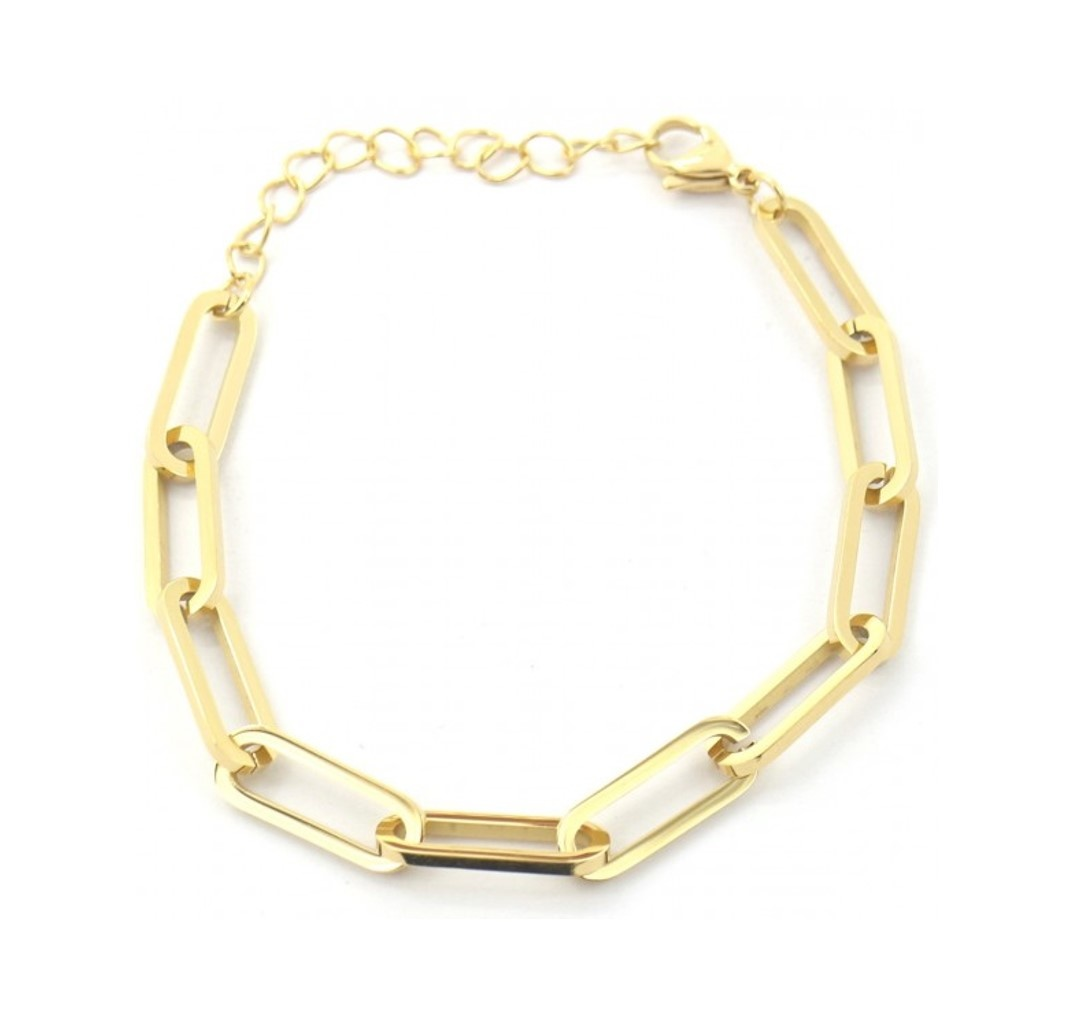 Grove schakel Armband Stainless Steel Gold Plated
