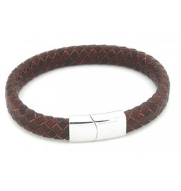 Sazou Jewels Armband Brown * Leer * Stainless Steel
