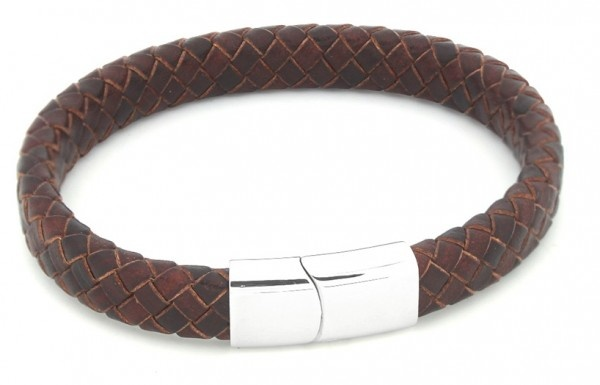 Sazou Jewels Bruin Leren Armband met Stainless  Steel Slot