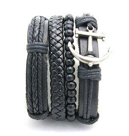 Armbanden Set Echt Leder Black