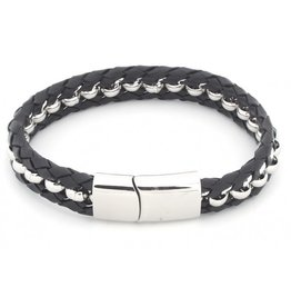 Armband Stainless Steel & Leather Black