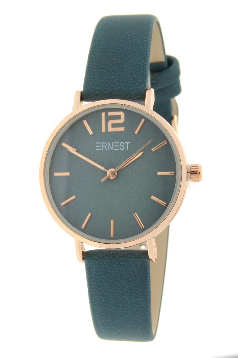 Ernest Horloge Cindy Petrol Mini Rose Goud met een 31 mm kast