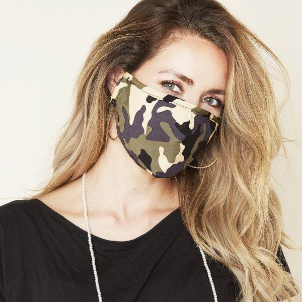 Mondkapje Fashion  Camouflage Grey