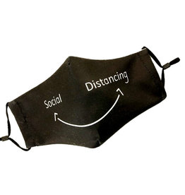 "Mondkapje ""Social Distancing"" - Black - 2 laags"