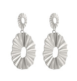 Oorbellen Silver Oval Waves XL