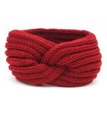 Hoofdband / Oorwarmers  Rood met knoop