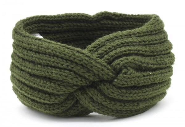 Hoofdband / Oorwarmers  Groen met knoop