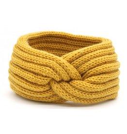 Hoofdband / Oorwarmers  Yellow met knoop