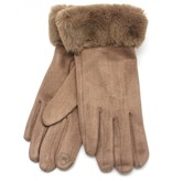 Dames Handschoenen Fake Fur Black-Brown