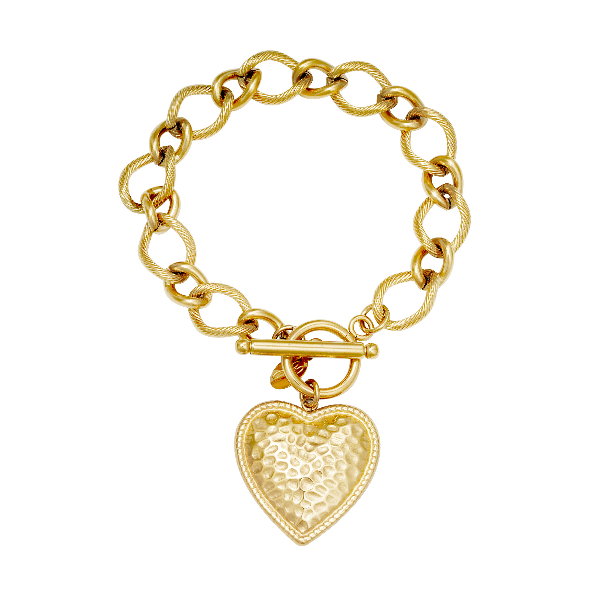 "Armband Stainless Steel Gold Plated ""Hart"""