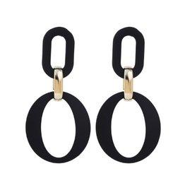Oorbellen Double Black Oval met Goud