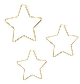 Oorbellen Golden Star - 3 maten