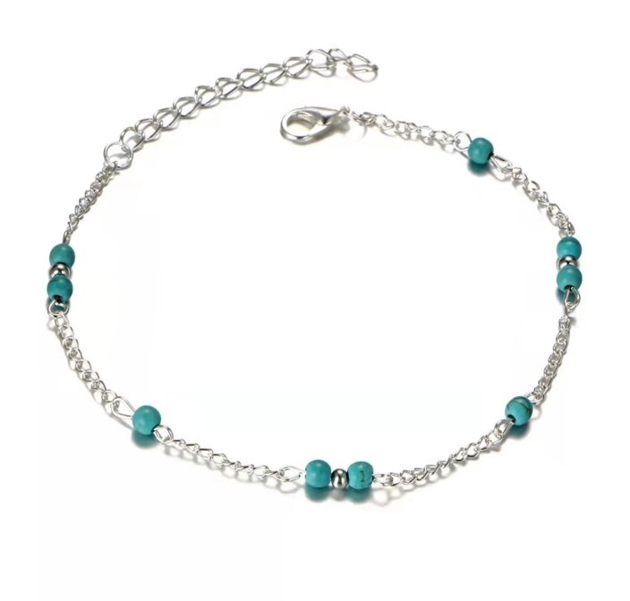 Enkelbandje Tiny Beads Turquoise natuursteen