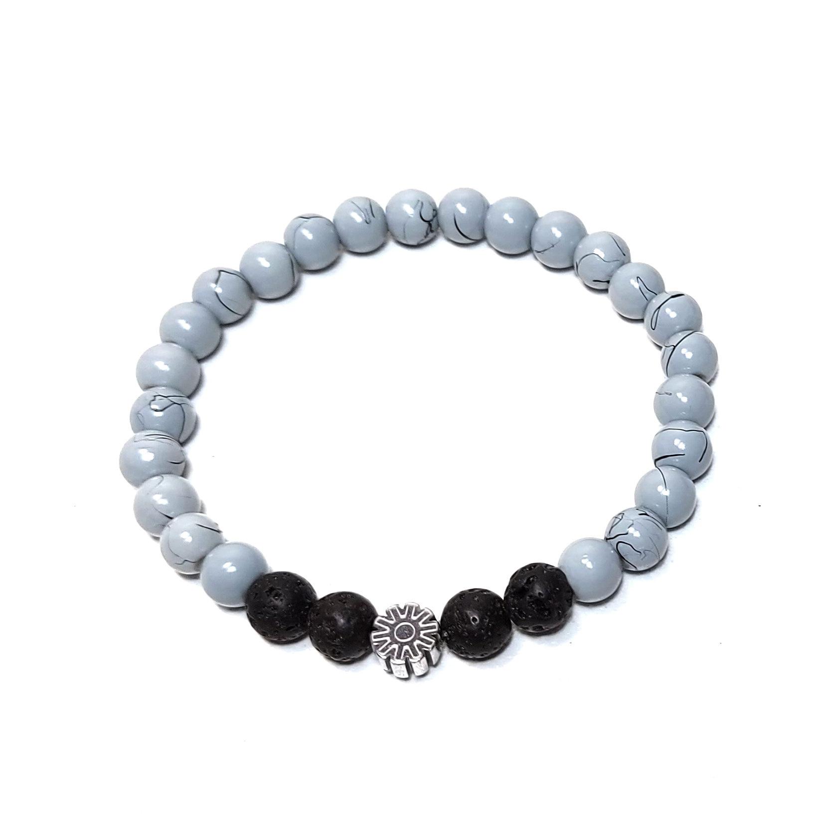 Sazou Jewels Armband Boys  - Natural Stones met lava en hematiet mandala spacer