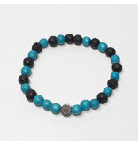 Sazou Jewels Armband Boys  - Natural Stones Wood met lava en hematiet mandala spacer