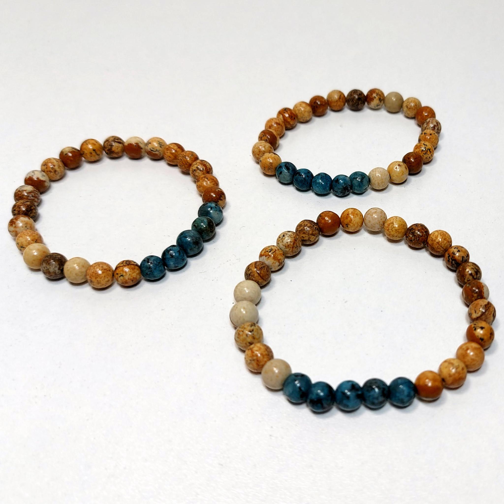 Sazou Jewels Armband Boys  - Natural Stones Tan Brown & Petrol Blue marmer