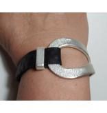 A-Zone Lederen Armband met Metalen Element