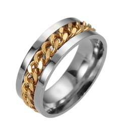Ring Titanium met gouden gourmetschakel band