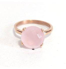 Ring Stainless Steel Gold Plated Rosé Stone